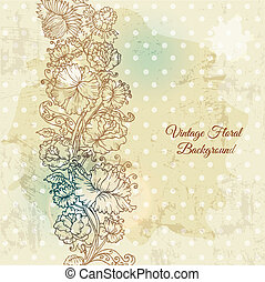Beautiful floral background, hand drawn retro flowers, leafs and ornaments - in vector