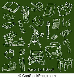 Back to School Doodles - Hand-Drawn Vector Illustration...
