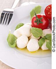 tomato and mozzarella with olive oil