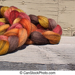 hand spun and dyed lama wool - a large ball of hand spun and...