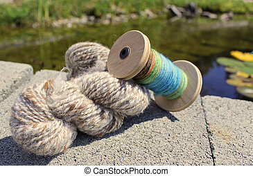 Hand spun wool fibres for crafts - hand dyed and hand spun...
