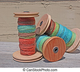 hand spun alpaca wool on a spool - hand spun and hand dyed...