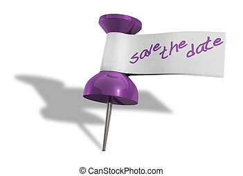 Save The Date Thumbtack - A purple thumbtack with a tape tag...