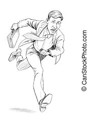 Businessman Running To Work With Briefcase. Illustration on...
