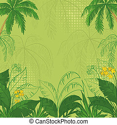 Tropical floral background - green flower background with...