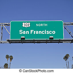 San Francisco 101 Freeway Sign with Palms