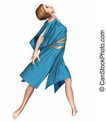 Dancer in Blue - Modern contemporary ballet dancer in a...