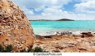 Blue mediterranean Balearic sea view in Formentera beach...