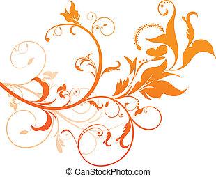 abstratos, laranja, floral