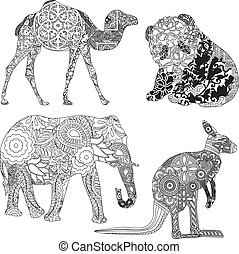 animals in the ornamentation - four animals in ethnic...