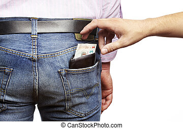 Man being pickpocketed for his wallet
