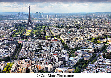 Paris, France - aerial city view Eiffel Tower. UNESCO World...