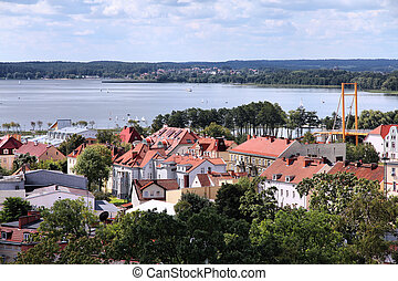 Poland - Gizycko - Gizycko, Poland - townscape with lake...