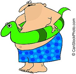 Fat man with a swim toy - This illustration depicts a chubby...