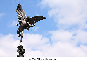 London, United Kingdom - famous Eros statue at Piccadilly...