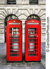 London, UK - London, United Kingdom - red telephone booths...