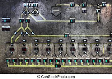 Factory switchboard in industrial area Zollverein in Essen -...