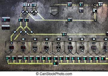 Factory switchboard in industrial area Zollverein in Essen -...