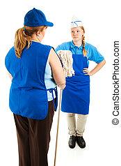 Boss Hands Mop to Teen Worker