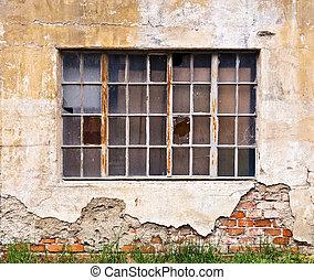 vieux, façade, fenêtre