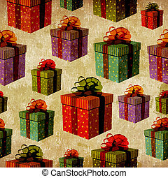 Vintage colorful gift box pattern