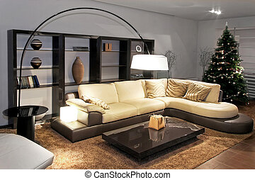 Living room modern - Contemporary living room with big...