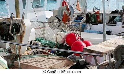 Balearic islands formentera port with trammel fisher nets...