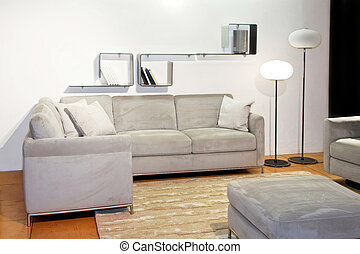 Living simple angle - Simple living room with gray seat and...