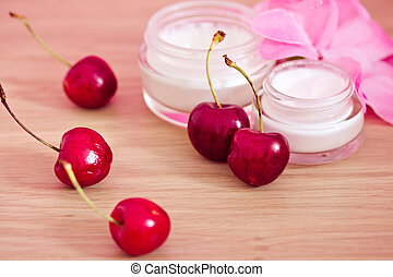 beauty product with natural ingredients (cherries) - concept...