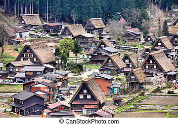 Shirakawa-go, Japan - Japan - aerial view of Shirakawa-Go,...