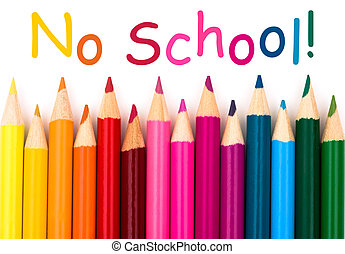 No School - A pencil crayon border isolated on white...