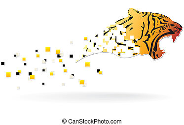 tiger head in motion with colorful pixels