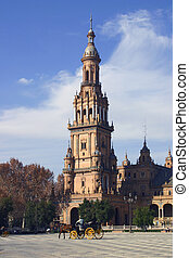 Seville plaza - Stock Photo - Main Tower from Plaza de...