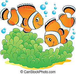 Clown fish theme image 1 - vector illustration