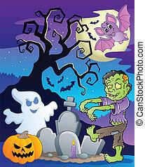 Scene with Halloween tree 6 - vector illustration.