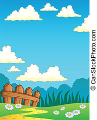 Spring theme landscape 4 - vector illustration