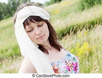 Dreamy Woman on the Meadow Portrait