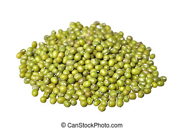 Mung beans - Pile of raw green mung beans isolated on white