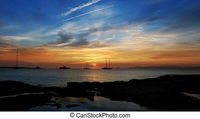 Ibiza sea sunset view from island - Ibiza sea sunset view...