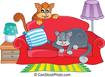 Red sofa with two cartoon cats