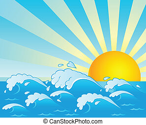 Waves theme image 4 - vector illustration