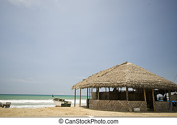 restaurants beach ruta del sol ecuador - thatched roof...