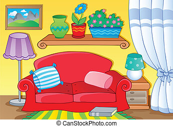 Room with furniture theme image 1 - vector illustration.