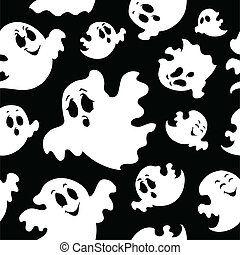 Seamless background with ghosts 1 - vector illustration