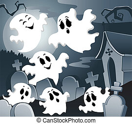 Ghost theme image 4 - vector illustration.