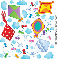 Kites theme image 1 - vector illustration.