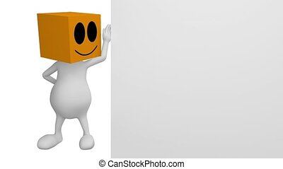 3d little cute people with orange box head, showing on empty...