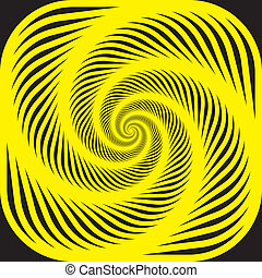 Yellow spiral on black background