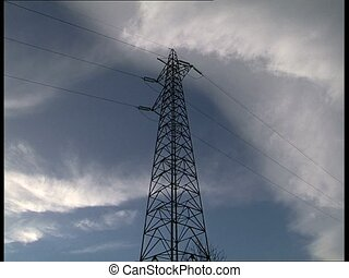 PYLON and blue sky - Pylon with blue cloudy sky in the...
