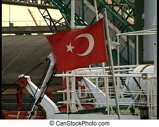 Turkish Flag - Turkish flag waving on a boat